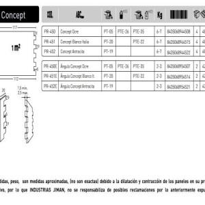 Revestimiento Concept ESPECIFICACIONES PANEL CONCEPT