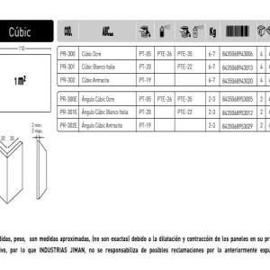 Revestimiento Cubic ESPECIFICACIONES PANEL CUBIC